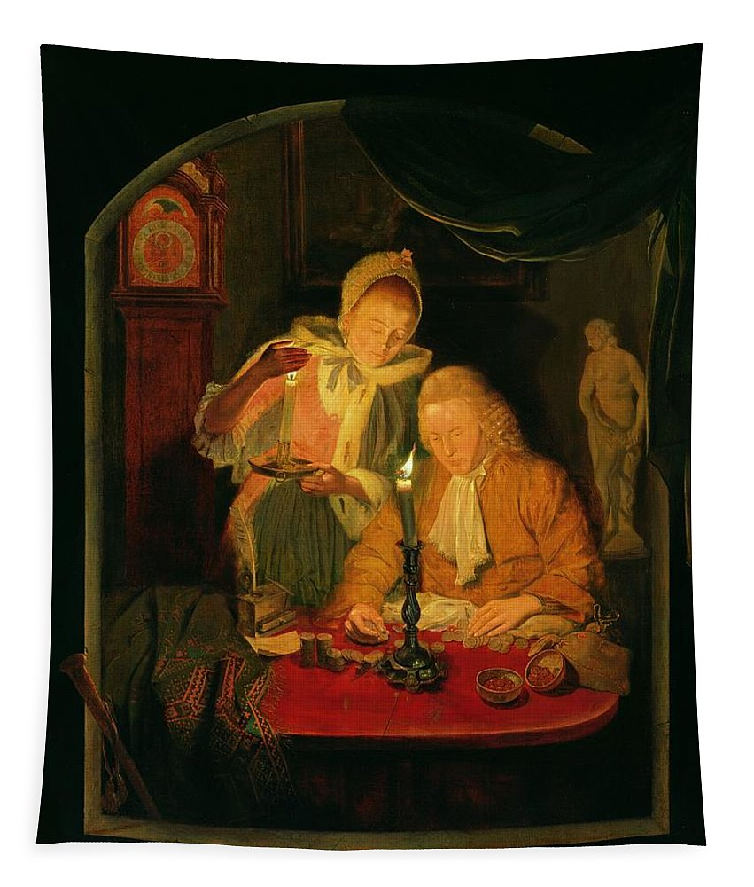 Interior Tapestry featuring the photograph Couple Counting Money By Candlelight, 1779 Panel by Michiel Versteegh