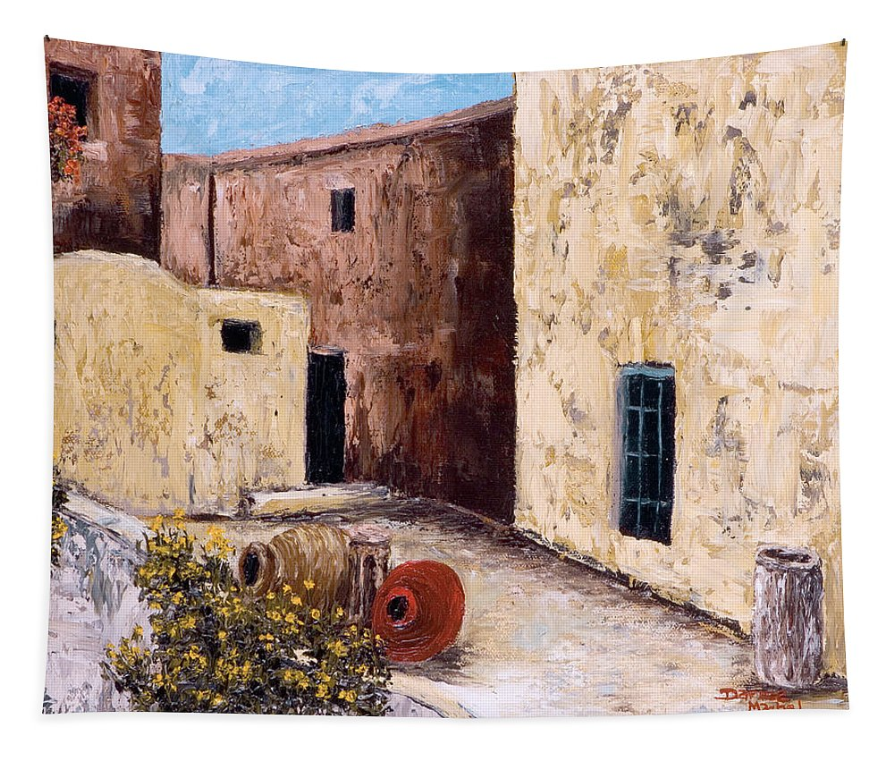 Courtyard Tapestry featuring the painting Courtyard by Darice Machel McGuire