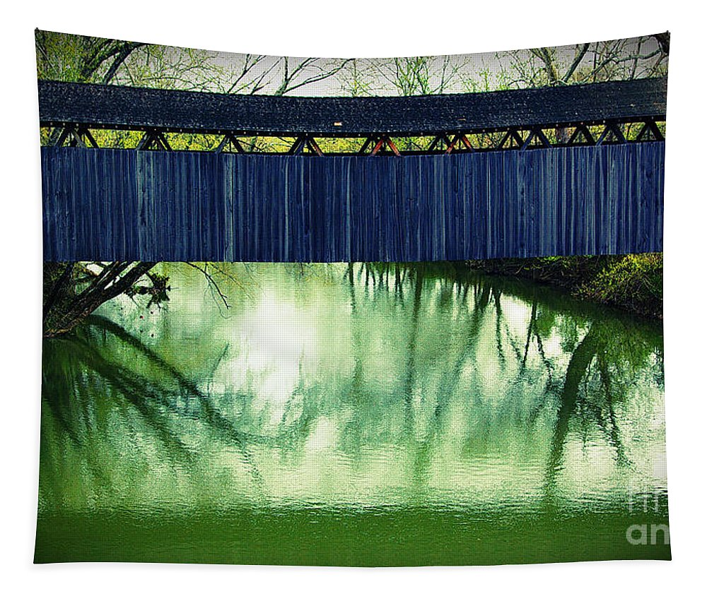 Covered Bridge Tapestry featuring the photograph Covered Bridge In Kentucky by Gary Richards