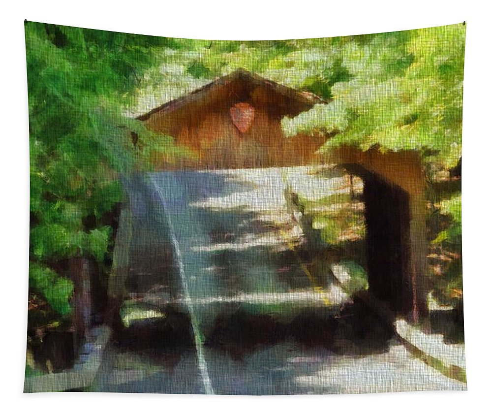 Covered Bridge In Sleeping Bear Dunes National Lakeshore Tapestry featuring the painting Covered Bridge In Sleeping Bear Dunes National Lakeshore by Dan Sproul