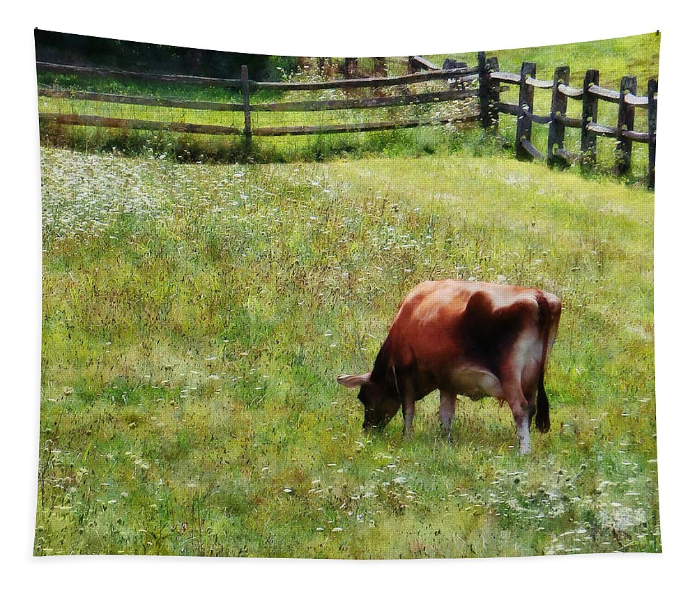 Cow Tapestry featuring the photograph Cow Grazing In Pasture by Susan Savad