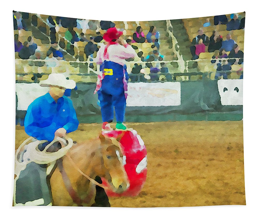 Cowboy Tapestry featuring the photograph Cowboy And The Clown by Alice Gipson