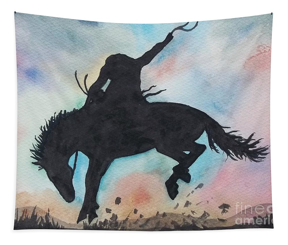 Cowboy Bronco Tapestry featuring the painting Cowboy Bronco by Don Hand