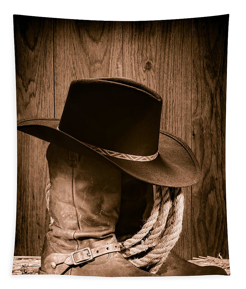 Boots Tapestry featuring the photograph Cowboy Hat And Boots by Olivier Le Queinec
