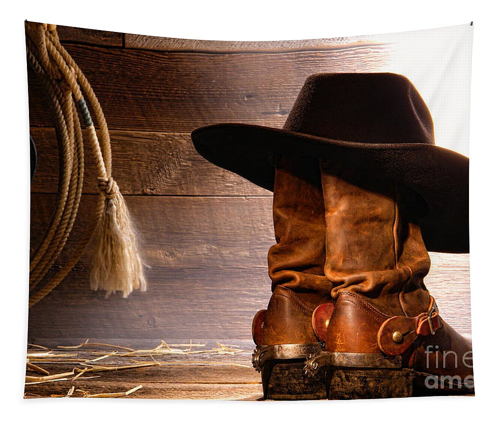 Western Tapestry featuring the photograph Cowboy Hat On Boots by Olivier Le Queinec