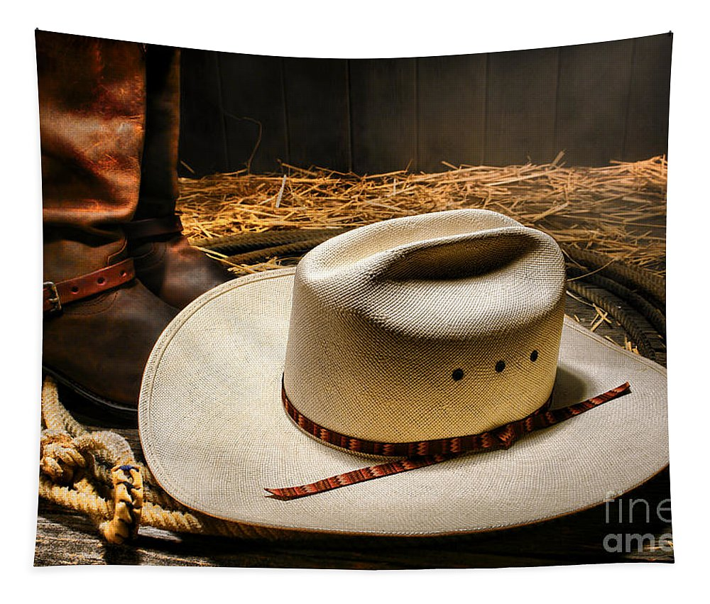 Western Tapestry featuring the photograph Cowboy Hat On Lasso by Olivier Le Queinec