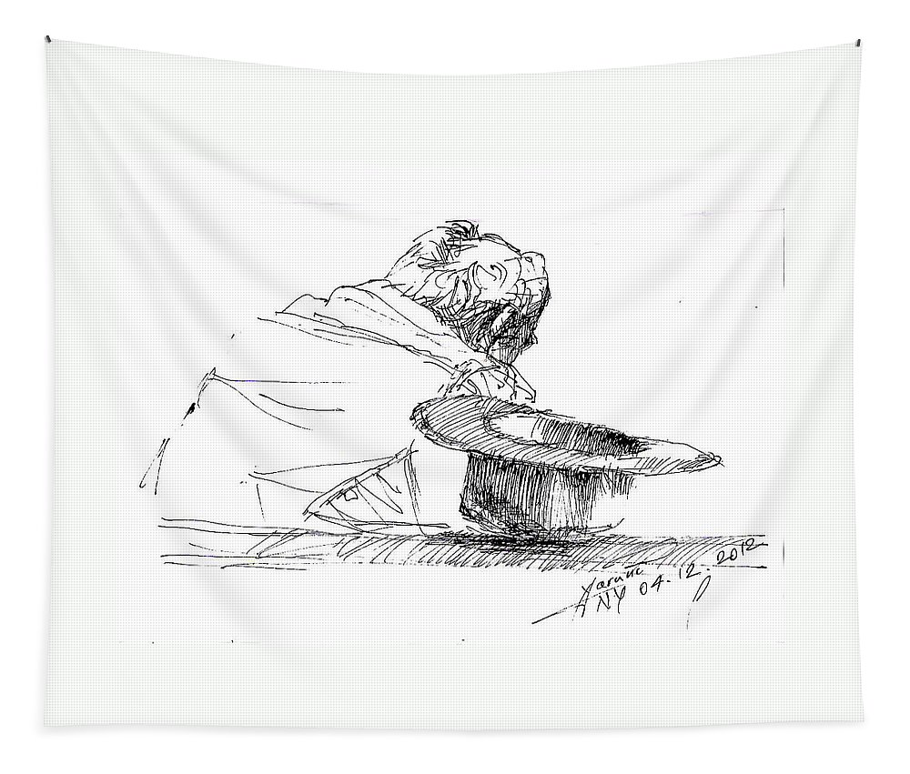 Man Sitting Tapestry featuring the drawing Cowboy Taking A Break by Ylli Haruni