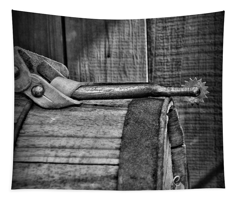 Barn Tapestry featuring the photograph Cowboy Themed Wood Barrel And Spur In Black And White by Paul Ward