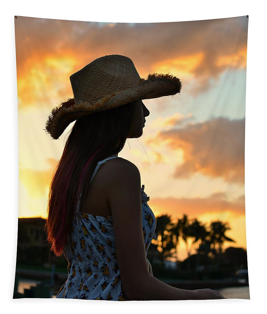Silhouette Tapestry featuring the photograph Cowgirl Sunset by Laura Fasulo