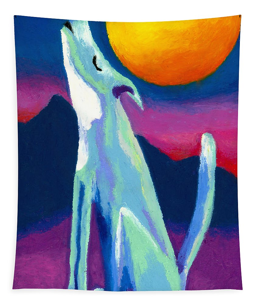 Coyote Tapestry featuring the painting Coyote Azul by Stephen Anderson