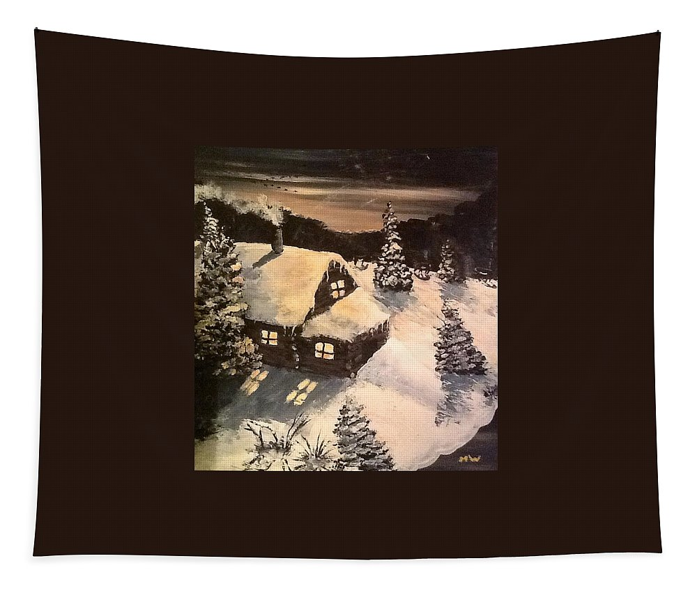 Winter Tapestry featuring the painting Cozy Cabin by Megan Walsh