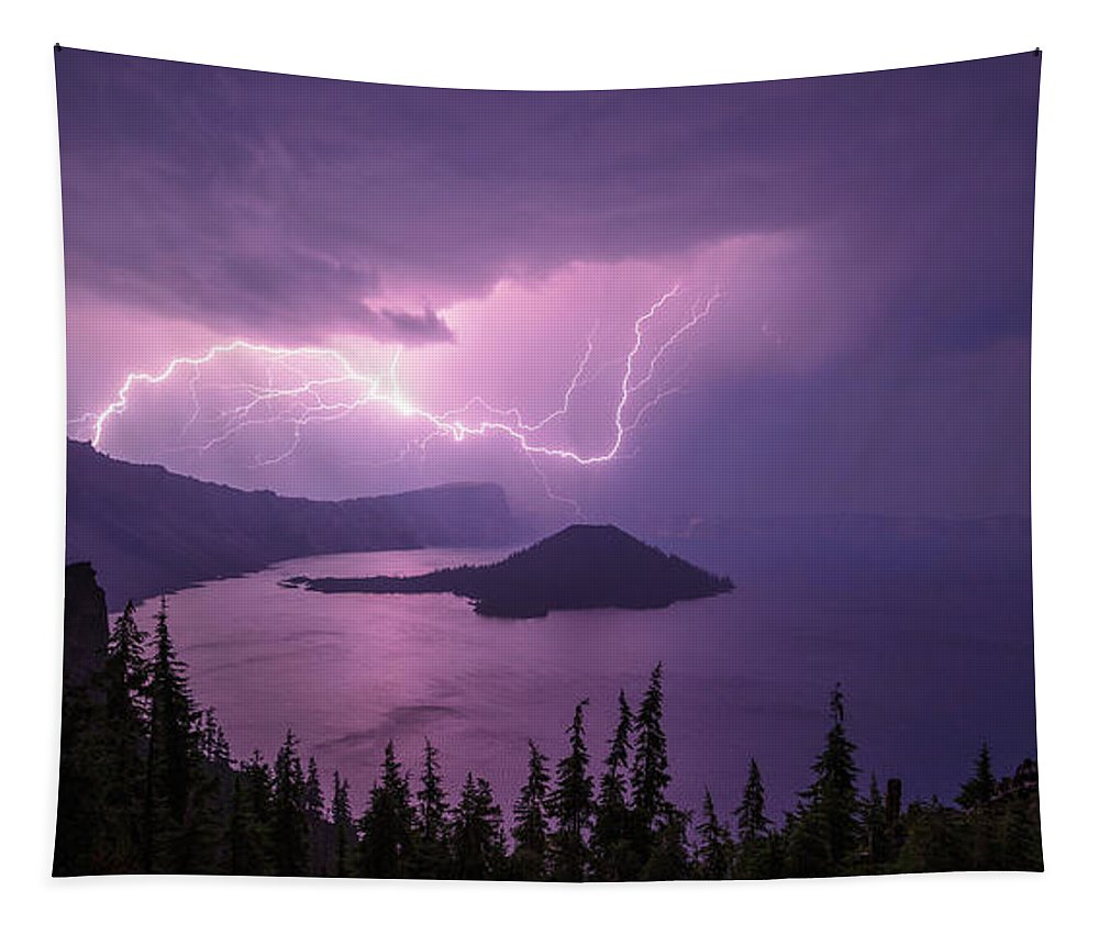Crater Storm Tapestry featuring the photograph Crater Storm by Chad Dutson