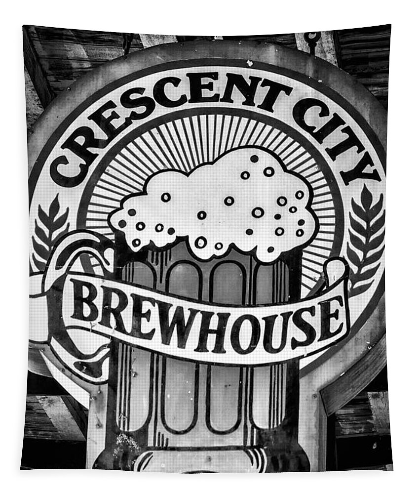 Crescent City Brewhouse Tapestry featuring the photograph Crescent City Brewhouse - Bw by Kathleen K Parker