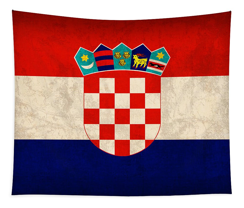 Croatia Tapestry featuring the mixed media Croatia Flag Vintage Distressed Finish by Design Turnpike
