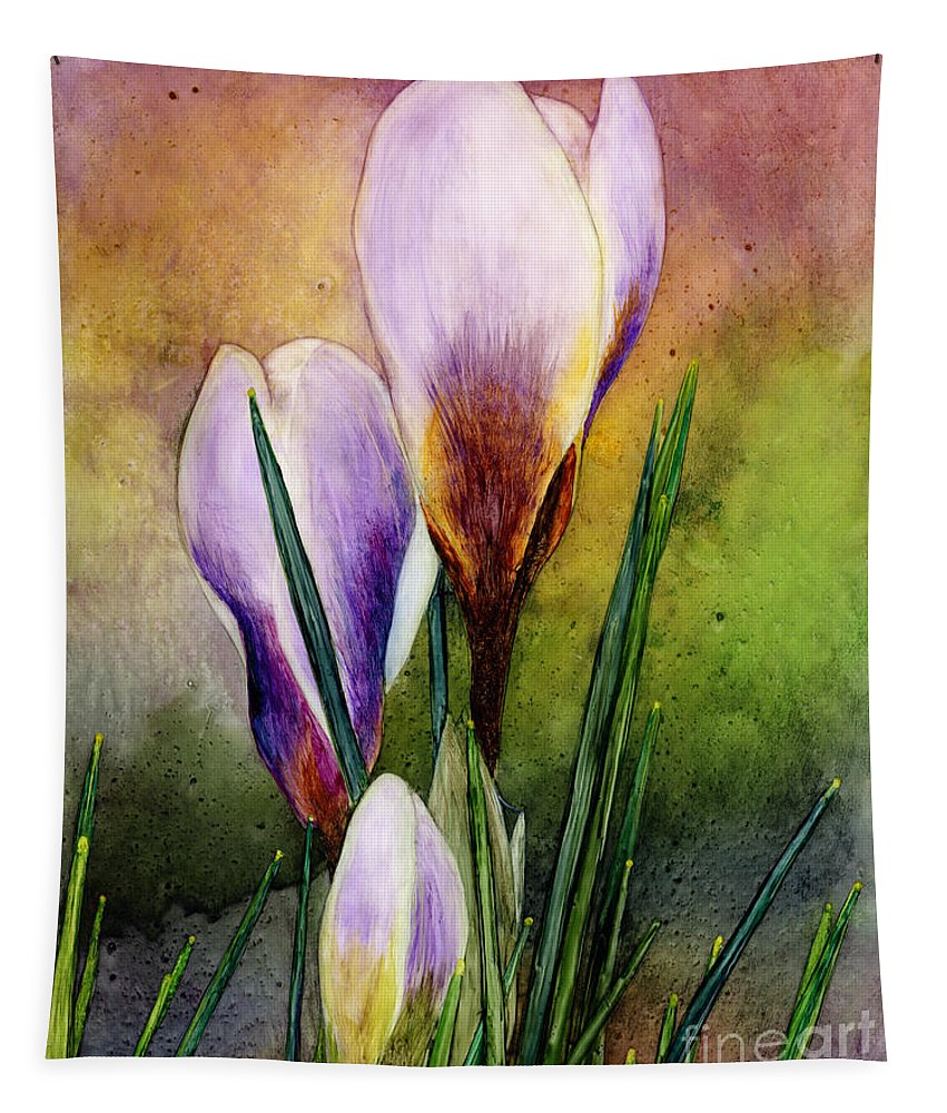 Crocus Tapestry featuring the painting Crocus by Hailey E Herrera