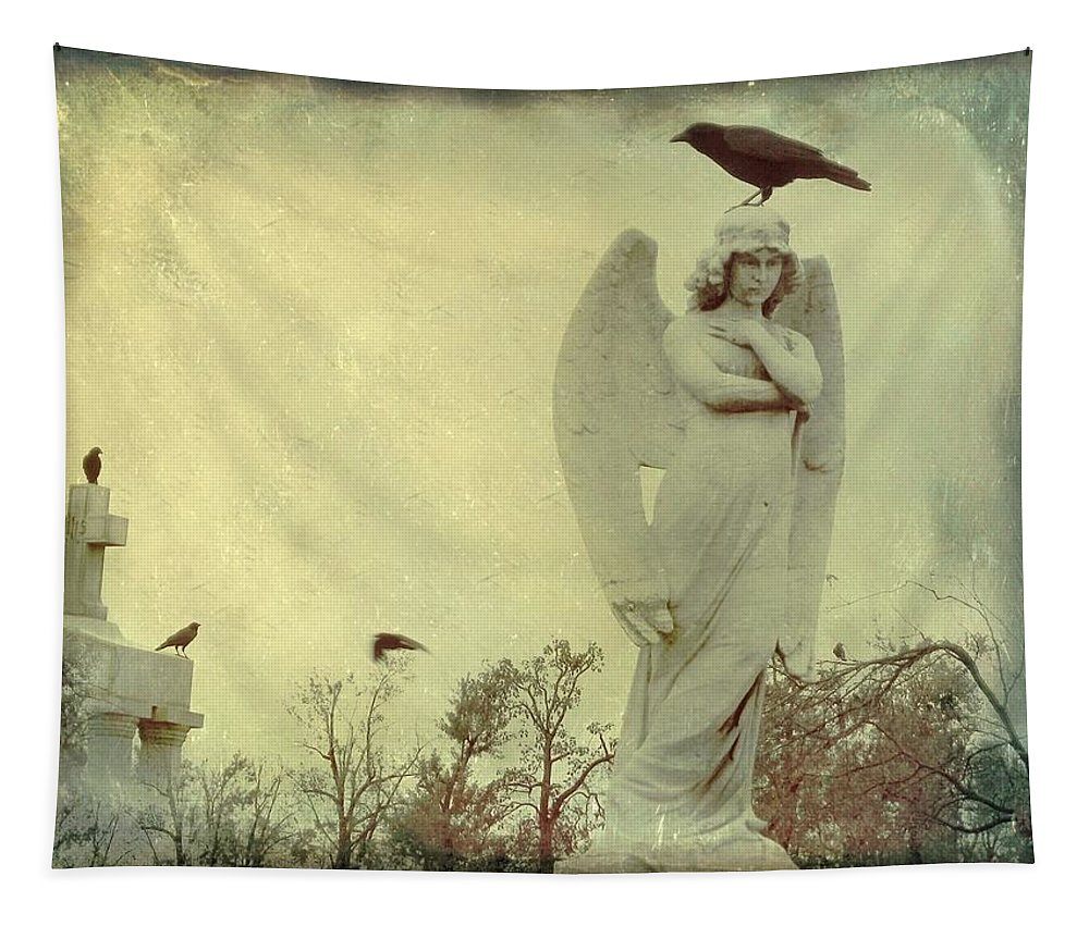 Crow On Angel Head Tapestry featuring the photograph Cross Or Angel by Gothicrow Images