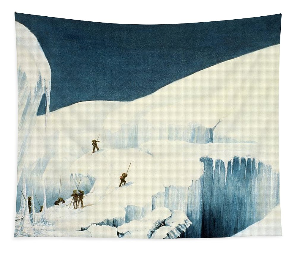 Mountaineers Tapestry featuring the drawing Crossing A Ravine, From A Narrative by English School
