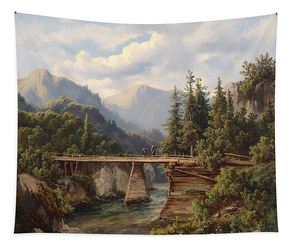 Landscape Tapestry featuring the painting Crossing The River Bridge by Mountain Dreams