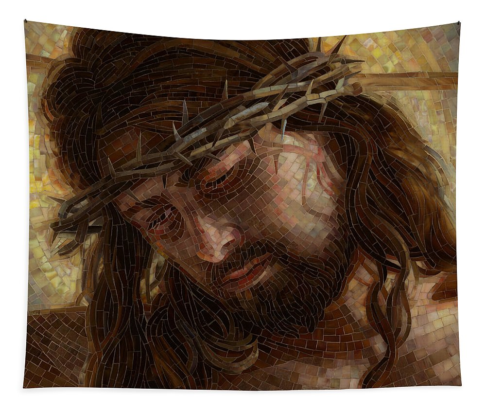 Jesus Tapestry featuring the painting Crown of Thorns Glass Mosaic by Mia Tavonatti