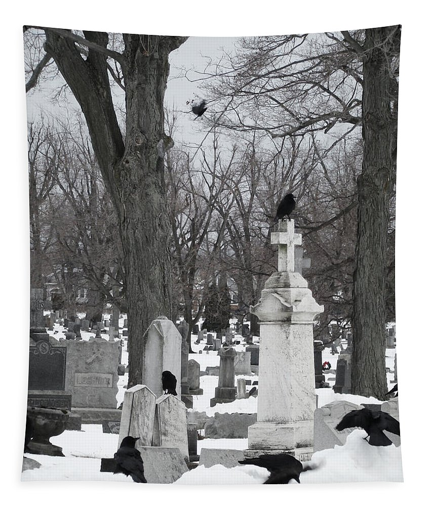 Weather Tapestry featuring the photograph Crows In Gothic Winter Wonderland by Gothicrow Images