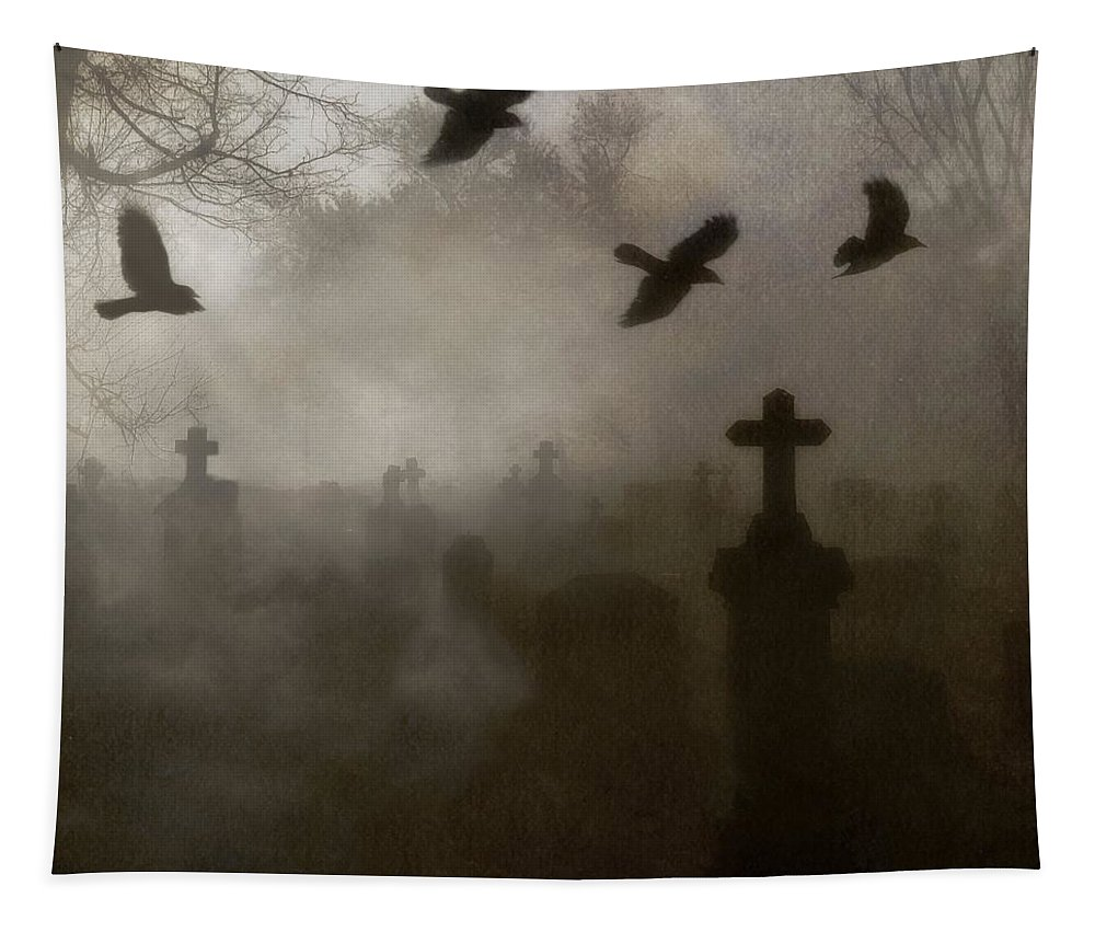 Thick Fog Tapestry featuring the photograph Crows On A Eerie Night by Gothicrow Images