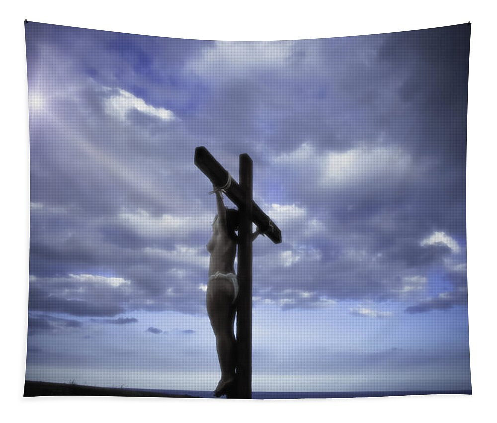 Landscape Tapestry featuring the photograph Crucifix In The Light by Ramon Martinez