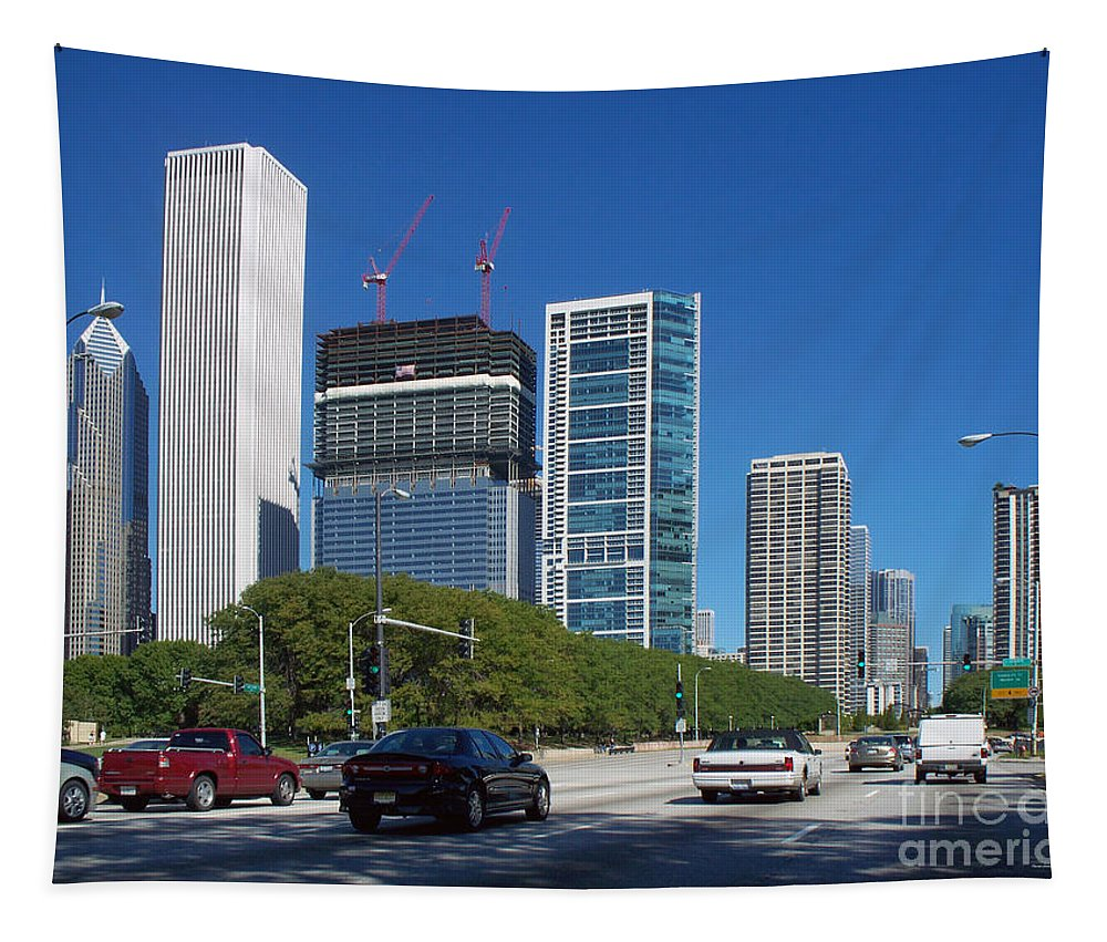 Cities Tapestry featuring the photograph Cruising North On Lake Shore Drive In Chicago by Thomas Woolworth