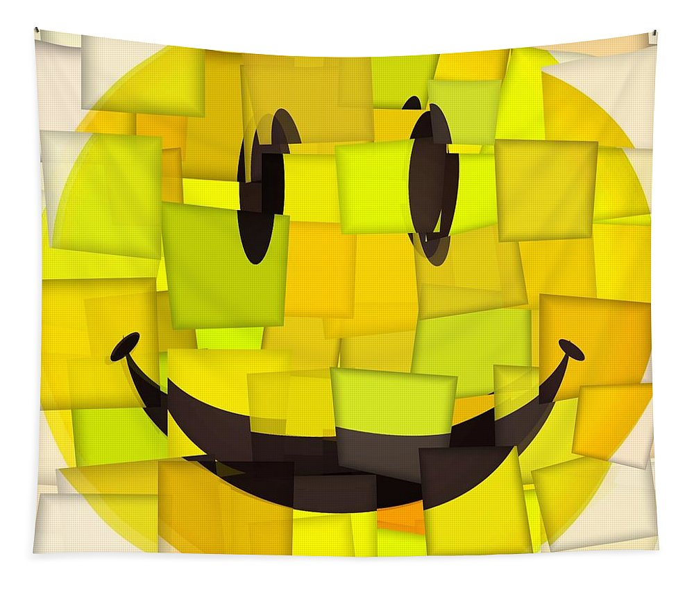 Cubism Smiley Face Tapestry featuring the mixed media Cubism Smiley Face by Dan Sproul
