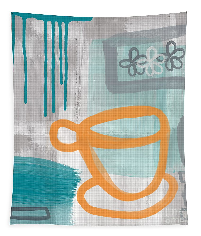Coffee Tapestry featuring the painting Cup Of Happiness by Linda Woods
