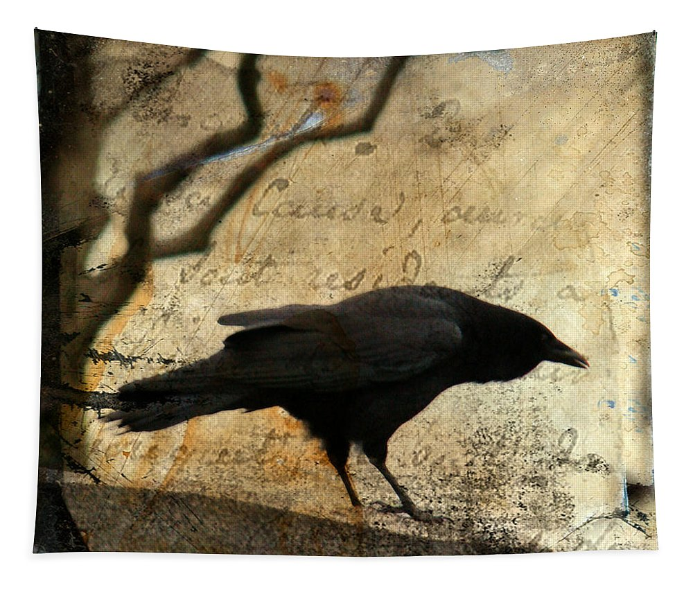 Crow Tapestry featuring the digital art Curious Crow by Gothicrow Images