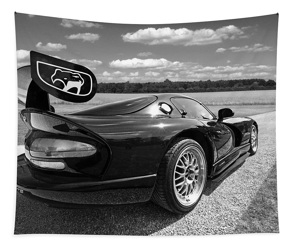 Dodge Viper Tapestry featuring the photograph Curvalicious Viper In Black And White by Gill Billington