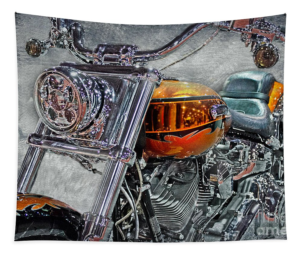 Harley Tapestry featuring the photograph Custom Bike In Orange And Black by Tom Gari Gallery-Three-Photography