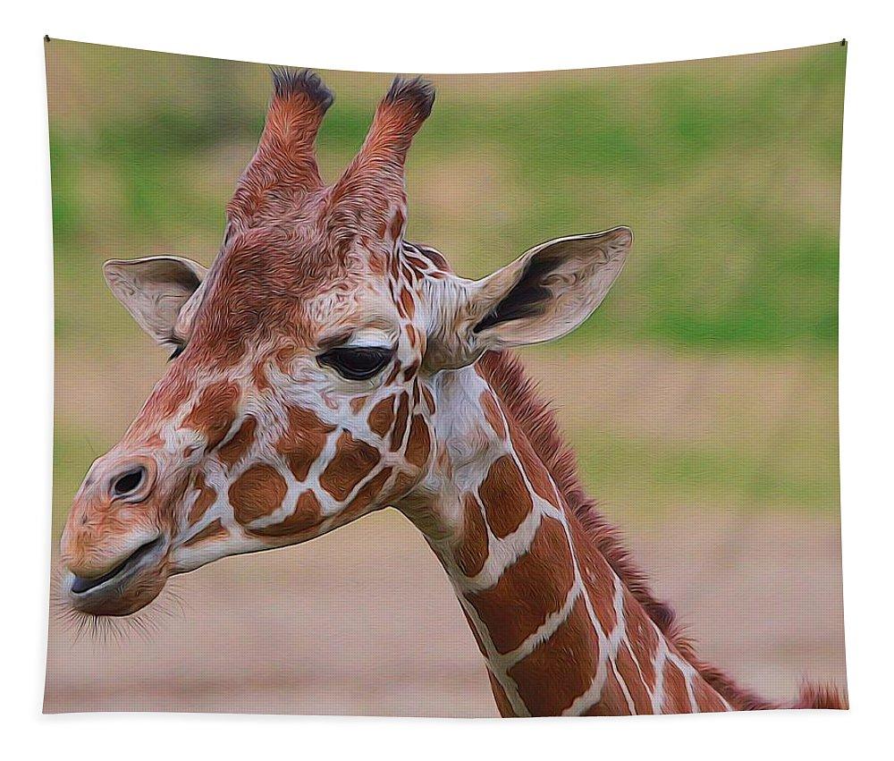 Giraffe Portrait Tapestry featuring the mixed media Cute Giraffe Portrait by Dan Sproul