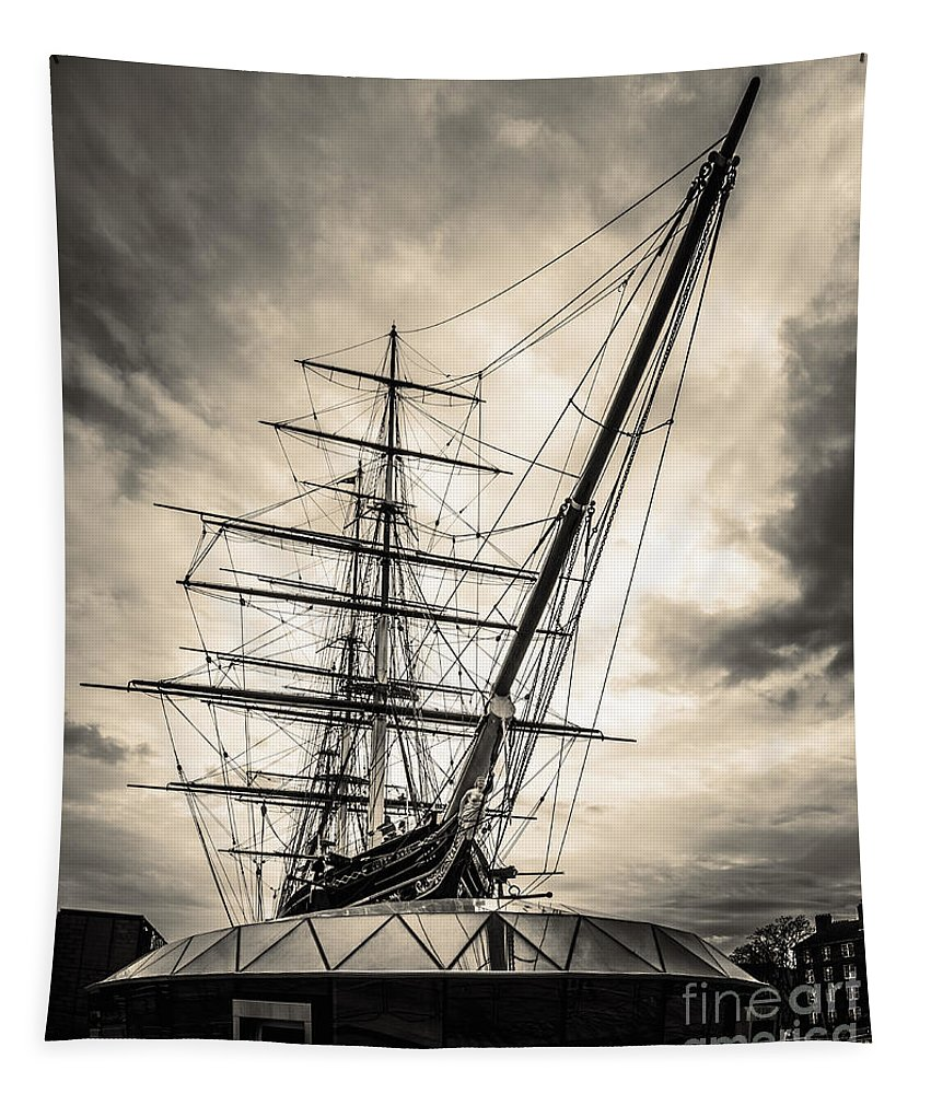 London Tapestry featuring the photograph Cutty Sark Sepia by Matt Malloy