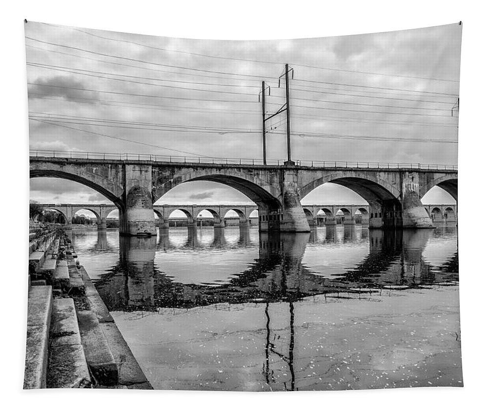 Susquehanna Tapestry featuring the photograph Cv - Susquehanna River Bridge Harrisburg Pennsylvania In Black by Bill Cannon