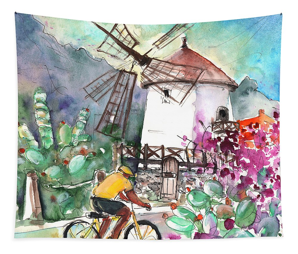 Travel Tapestry featuring the painting Cycling In The Mountains Of Gran Canaria by Miki De Goodaboom