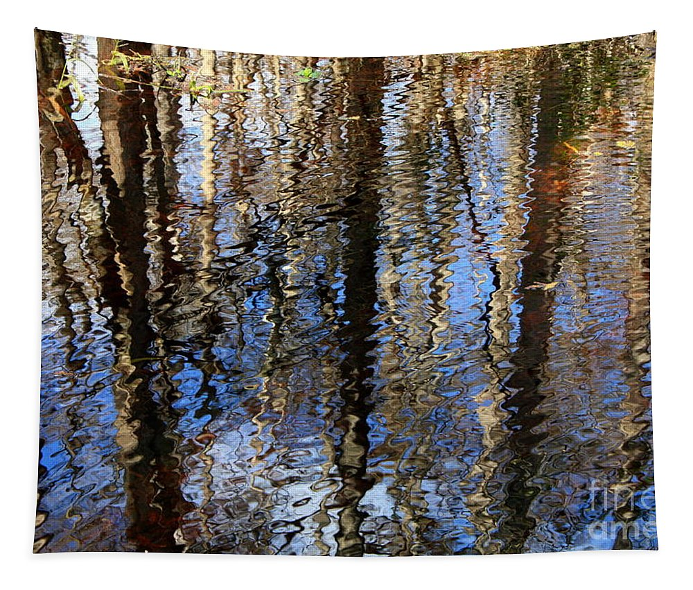 Nature Abstract Tapestry featuring the photograph Cypress Reflection Nature Abstract by Carol Groenen