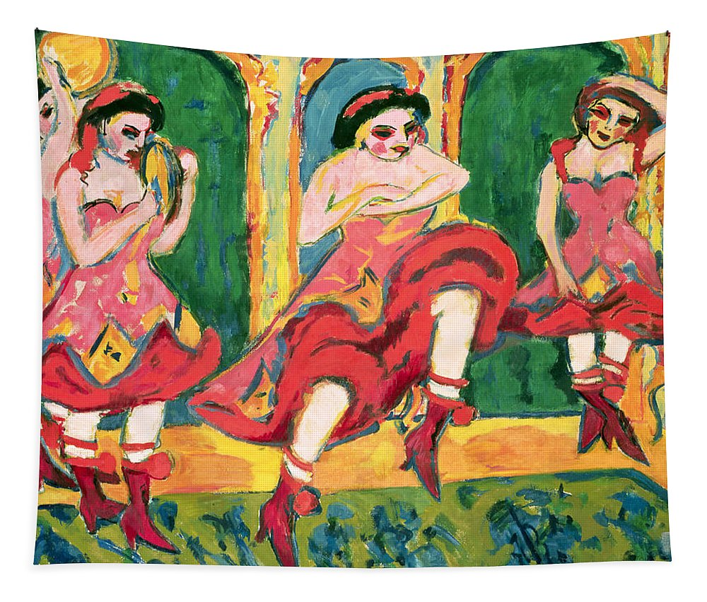 Die Brucke Tapestry featuring the painting Czardas Dancers, 1908-20 by Ernst Ludwig Kirchner