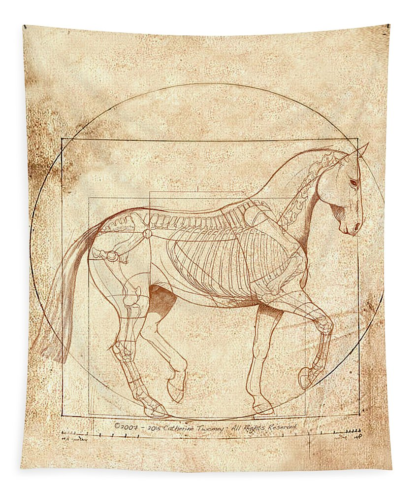 Equine Tapestry featuring the painting da Vinci Horse in Piaffe by Catherine Twomey
