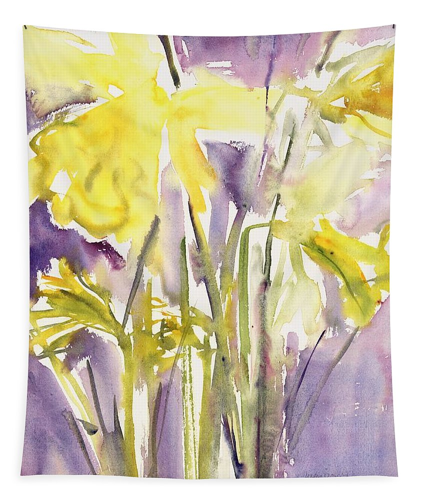 Yellow Tapestry featuring the painting Daffodils by Claudia Hutchins-Puechavy