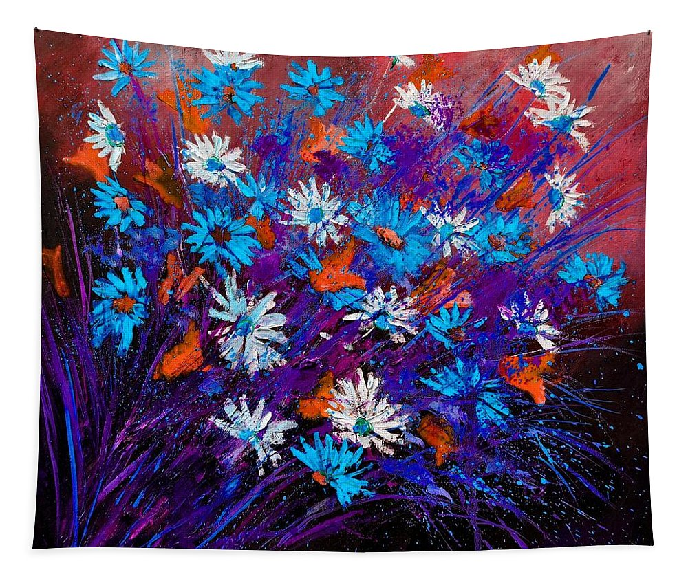 Still Life Tapestry featuring the painting Daisies 77412 by Pol Ledent