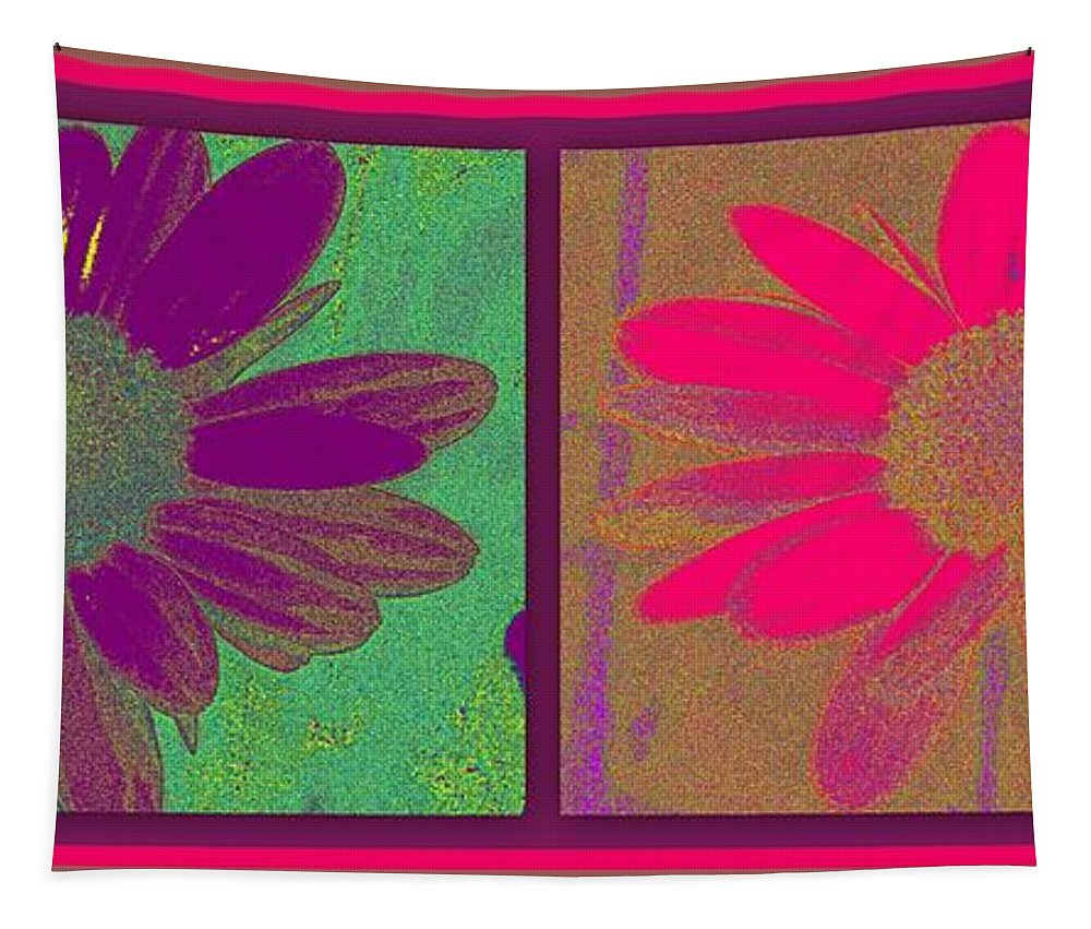 Art Tapestry featuring the digital art Daisies Purple Pink by Linda Galok