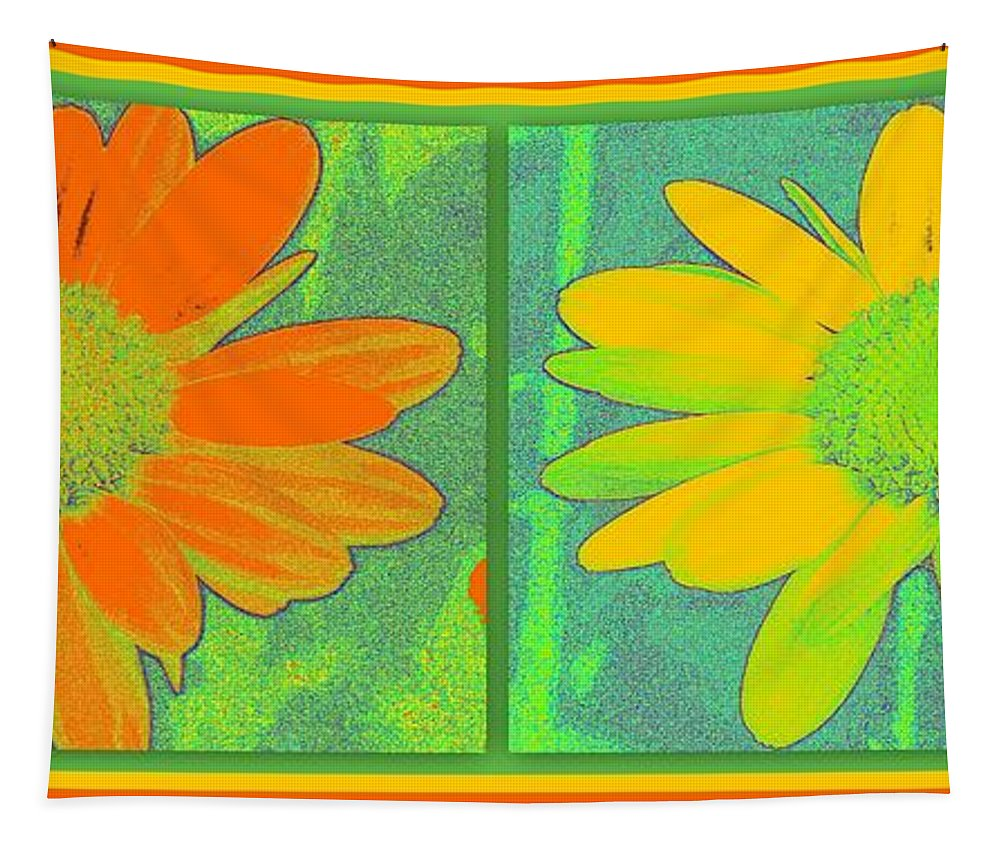 Art Tapestry featuring the digital art Daisy Collage Yellow Orange by Linda Galok