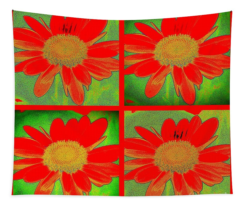 Art Tapestry featuring the digital art Daisy Perspective Collage by Linda Galok