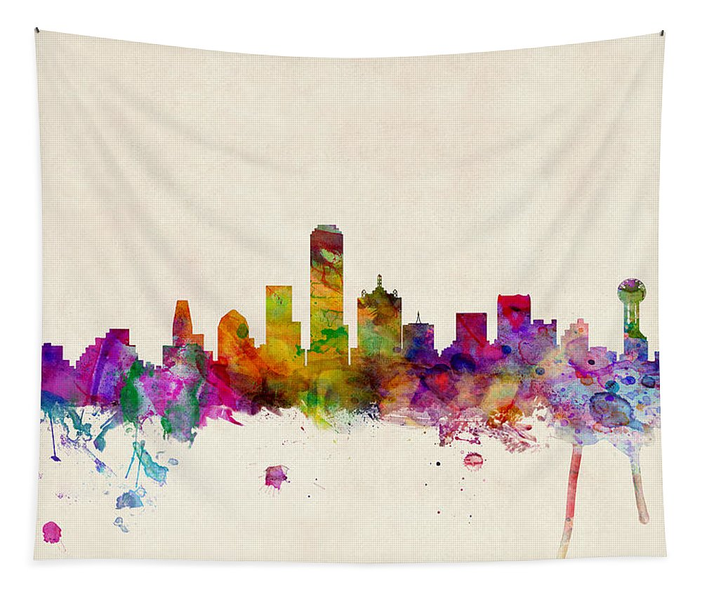 Watercolour Tapestry featuring the digital art Dallas Texas Skyline by Michael Tompsett