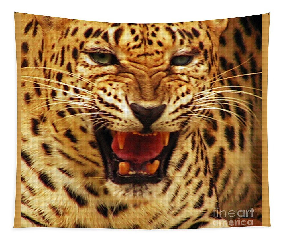 Tiger Tapestry featuring the photograph Dangerous Teeth by Ben Yassa