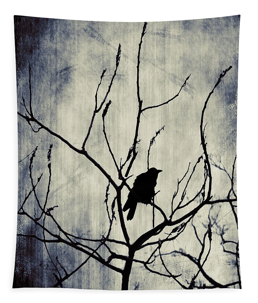 Raven Tapestry featuring the digital art Crow In Dark Lights by Gothicrow Images