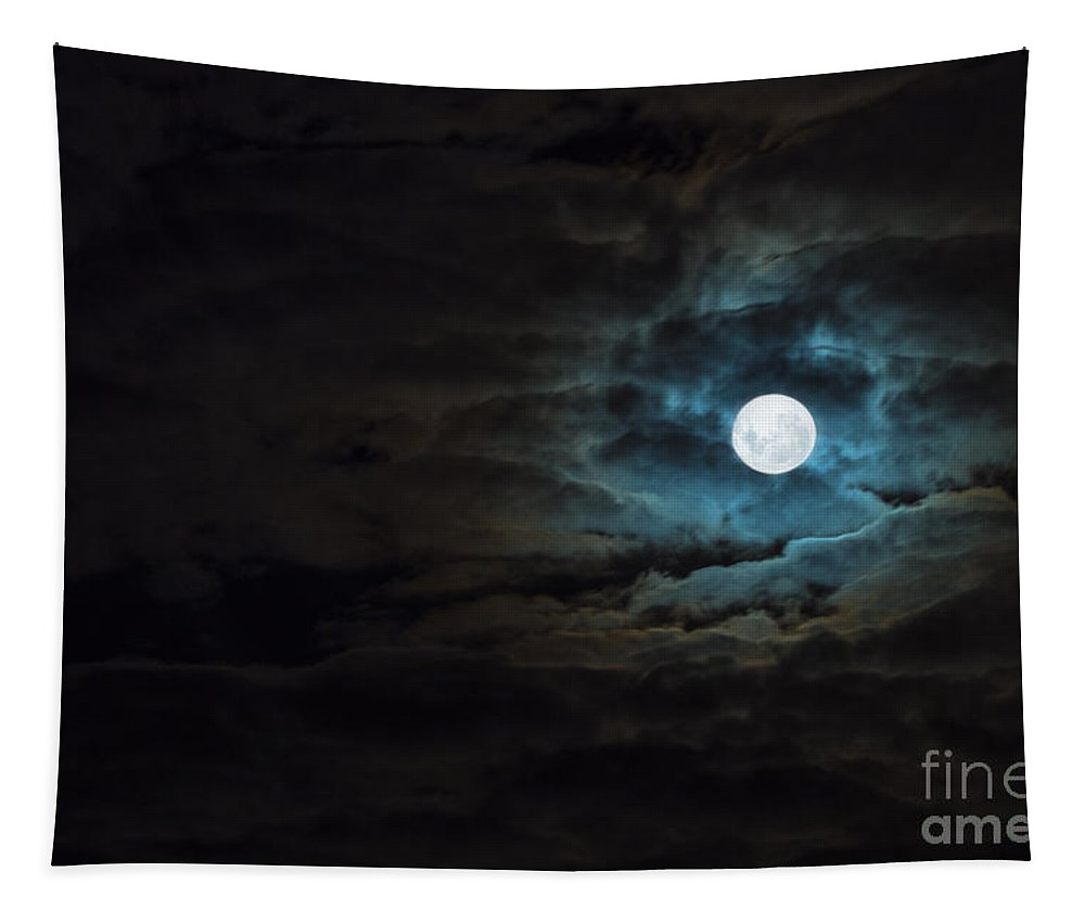 Moon Tapestry featuring the photograph Dark Rising by Andrew Paranavitana