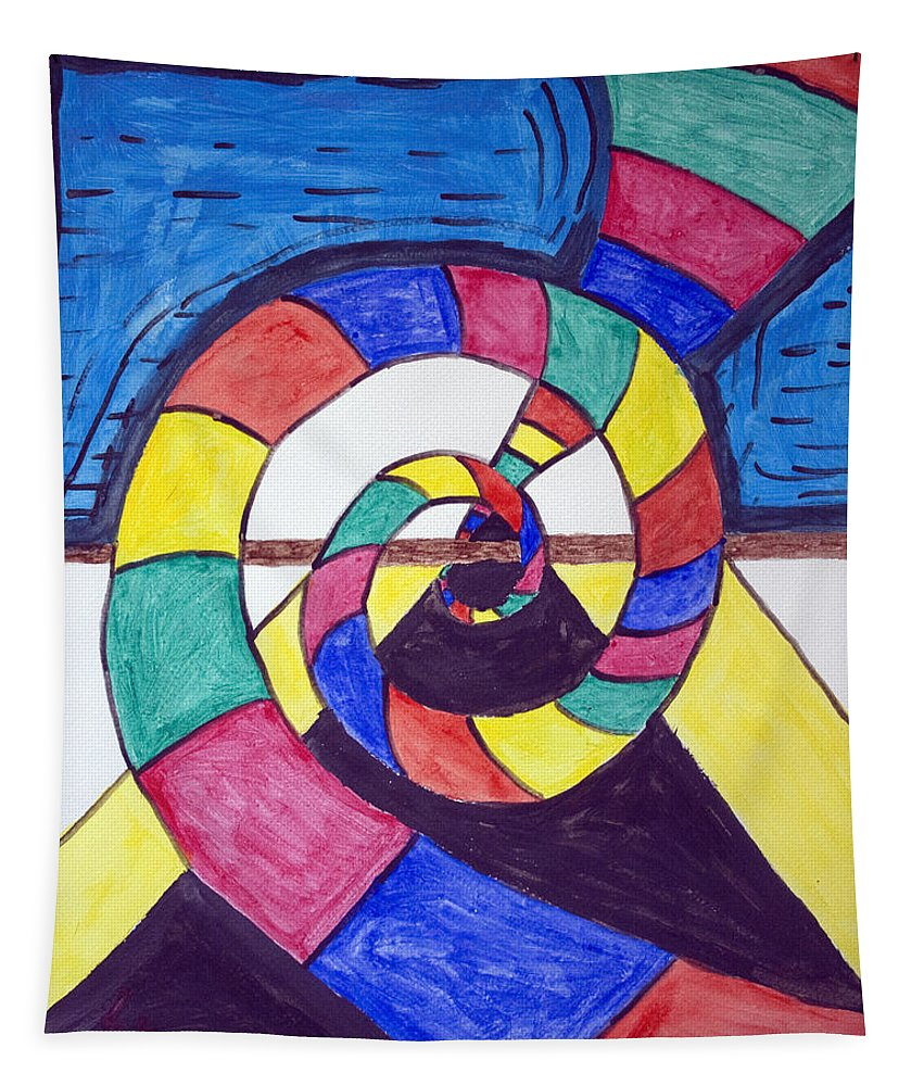 Spiral Tapestry featuring the painting Dark Spiral Rainbow Road by Stormm Bradshaw