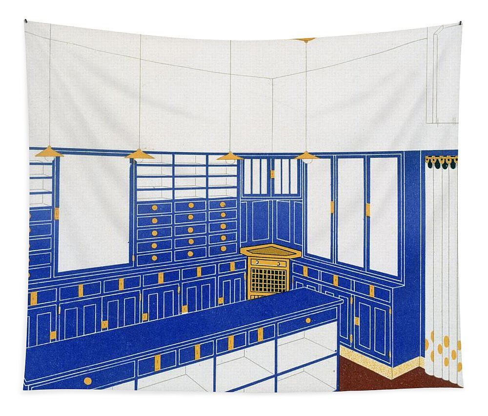 Interior Tapestry featuring the drawing Das Interieur Iv, A Glove Shop, 1906 by Johann Stubner